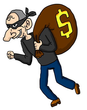 drawing of bank robber